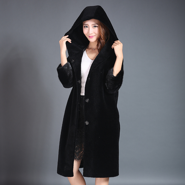 Natural Fur Coat For Women Elegant Ladies Winter Long Jacket Outwear Mink Fur Pattern Slim Female Genuine Real Sheep Fur Coat