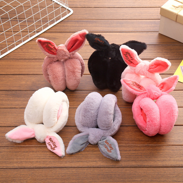 winter hot style earmuffs rabbit ear ear package earmuffs cat ears wool cloth with soft nap is knitted ear warm