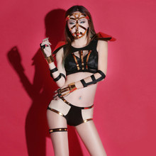 Sexy Ladies Mysterious Dancing Clothing Sets Heavy Metal Rock Punk Style Patchwork Women Night Club Clubwear Middle East Style