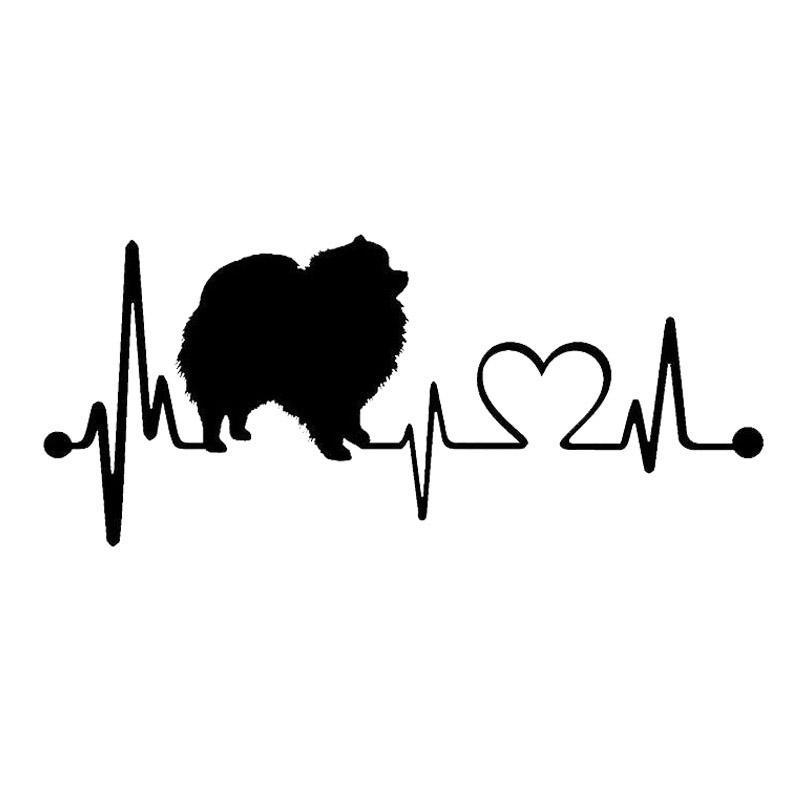 17.8*7.6CM Pomeranian Heartbeat Dog Car Stickers Reflective Vinyl Decal Car Styling Bumper Decoration Black/Silver S1-0715