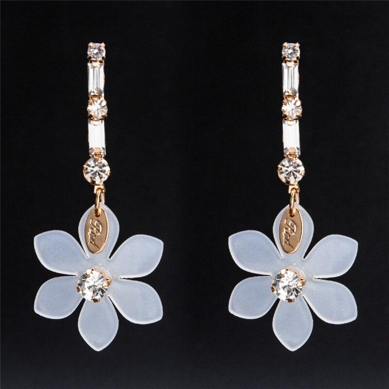 BK Women 39 s Wild Elegant Earrings Crystal Flower Plated Dangle Earrings Orecchini Donna Party Gift Flower Long Earrings Jewellery in Drop Earrings from Jewelry amp Accessories
