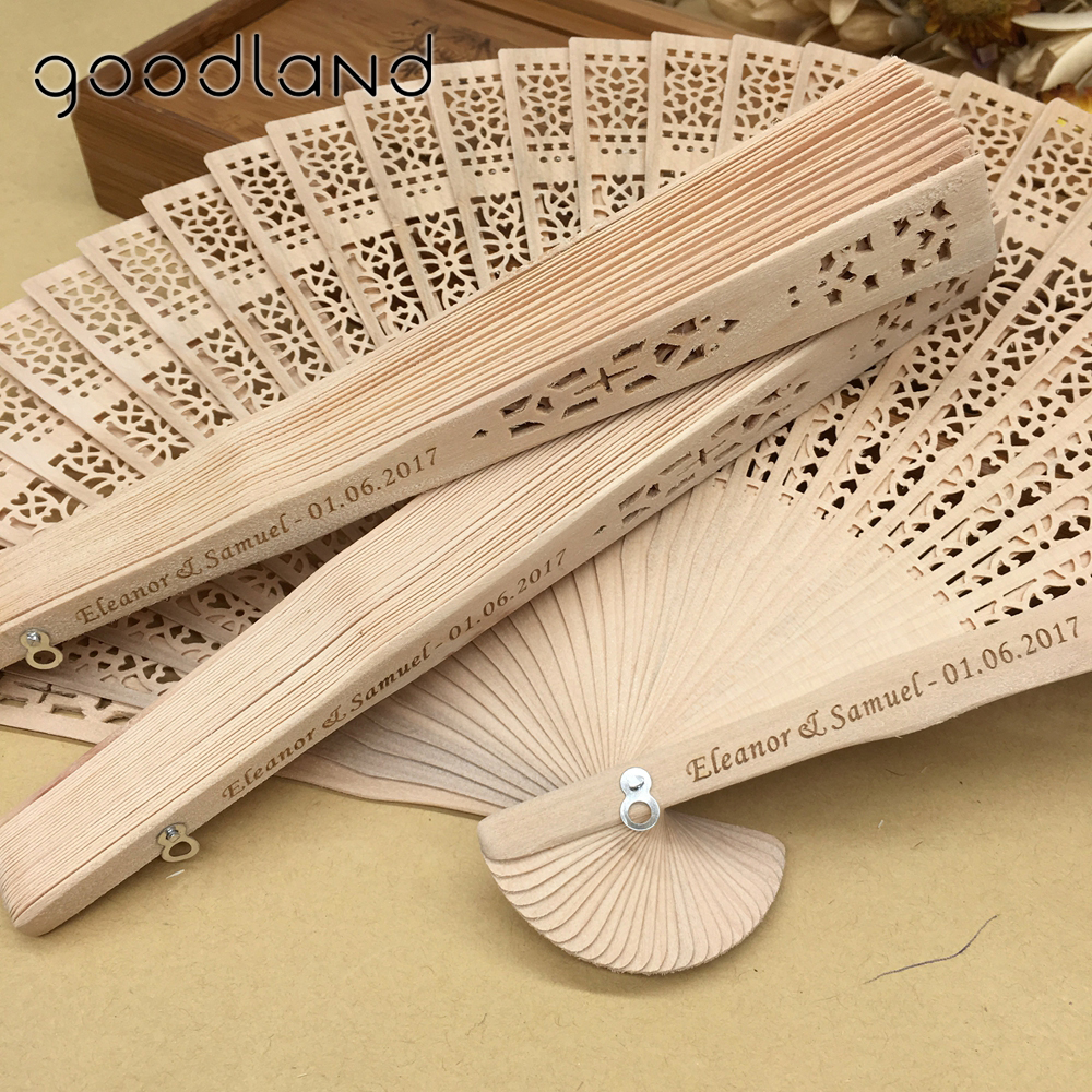 Free shipping Hot selling 100 pcs lot Printed Personalized Folding Wooden Carved Hand Fan wedding Invitations