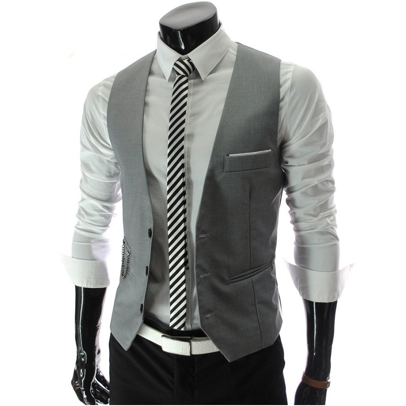 ZOGAA Gray Korean Fashion Metrosexual Men Slim V-Neck Collar Vest Sjxz-700-M07-55g