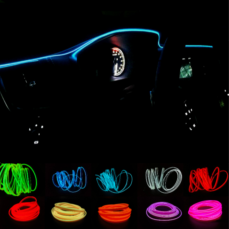 Jurus Universal 1 Meter Cars Decoration 12v Car Interior Lights Auto Led Neon Light El Wire Rope Tube Line10colors Car Styling
