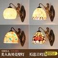 Средиземноморская Светодиодная лампа Tiffanylampe  настенная лампа Tiffany Mermaid AC 110/220 в E27  настенные светильники для дома  коридора  спальни