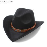 LUCKYLIANJI Womem Men Female Male S Wool Felt Western Cowboy Hat Wide Brim Cowgirl Braid Leather