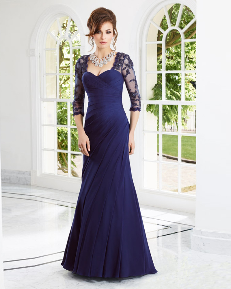 32bdfc584481b Vestidos Formales Free Shipping Chiffon Mermaid With Sleeve Navy Blue  Mother Of The Bride Dresses Plus Size Mother Dress Wedding-in Mother of the  Bride ...