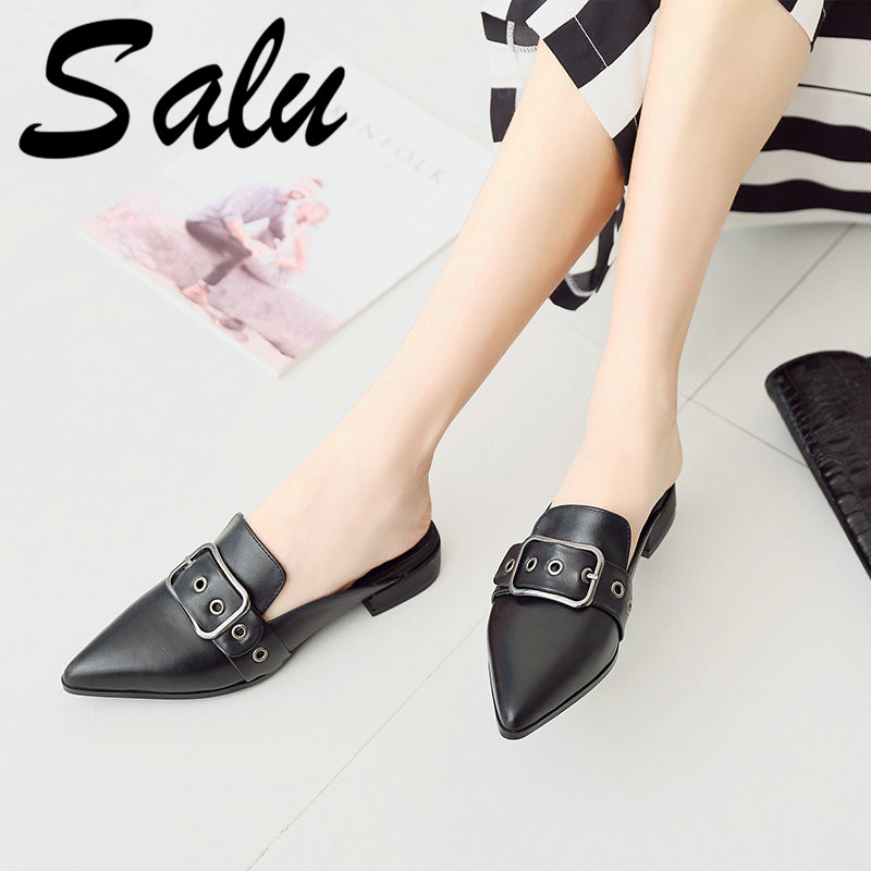 Salu Comfortable Square Low Heel Sandals High Quality Cow Leather Solid Casual Shoes Elegant Buckle New Sandals Size 34-42Salu Comfortable Square Low Heel Sandals High Quality Cow Leather Solid Casual Shoes Elegant Buckle New Sandals Size 34-42