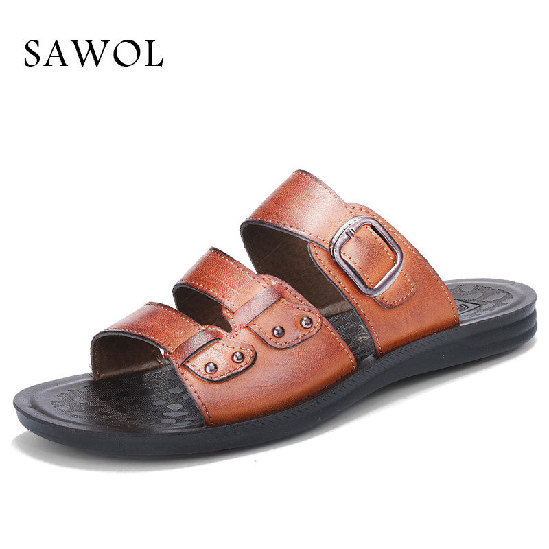 Sawol Men Sandals Genuine Split Leather Brand Men Casual Shoes Men Beach Sandals Flip Flops Thong Sneakers Summer Plus Big Size