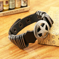 YL Trendy Punk Round Star Cowhide Leather Bracelets Elastic Braclets For Male Women Friendship Pulseras Mujer 2015 Gifts
