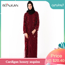 2019 Muslim WomenS Cardigan Luxury Sequin Ramadan Islamic dress fashion High Quality  Brand Polyester Clothing