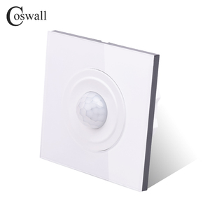 Image 2 - Coswall Crystal Tempered Glass White Panel Human Body Motion Sensor Wall Switch Adjustable Time Delay And Induction Distance