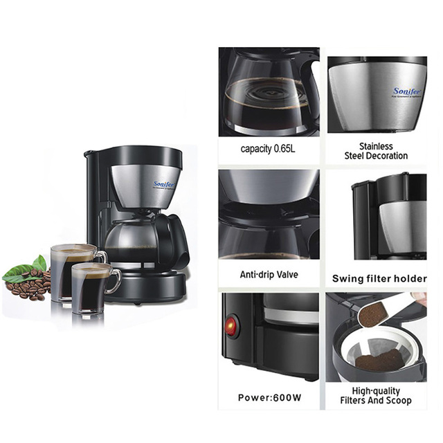 0.65L Electric Drip Coffee Maker Household Coffee Machine 6 Cup Tea Coffee Pot 220V Sonifer 2