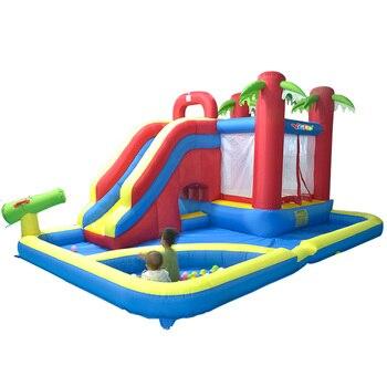 717cd161f Patio trampolín inflable toboganes piscina parque acuático 4,7*3,1*2,3 m juegos  inflables gigantes barcos por expreso regalo de Navidad