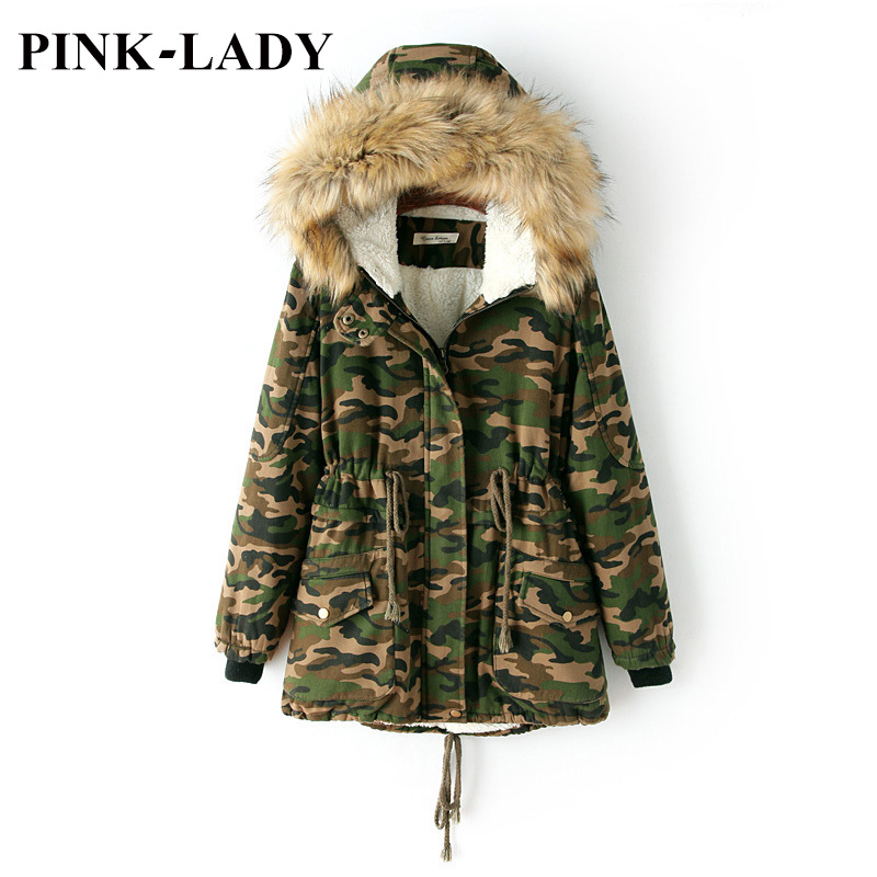 Women Camouflage Quilted Jacket Coat Faux Fur Collar Hooded Lamb Wool Warm Parkas Military Overcoat Female