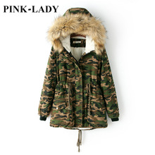 Women Camouflage Quilted Jacket Coat Faux Fur Collar Hooded Lamb Wool Warm Parkas Military Overcoat Female Winter Outerwear
