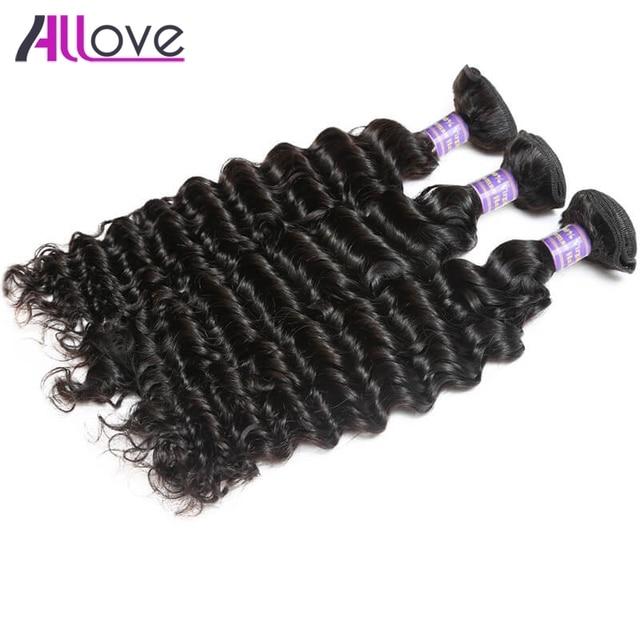 Allove Hair Peruvian Human Hair Weave Deep Wave 3bundles 100 Remy