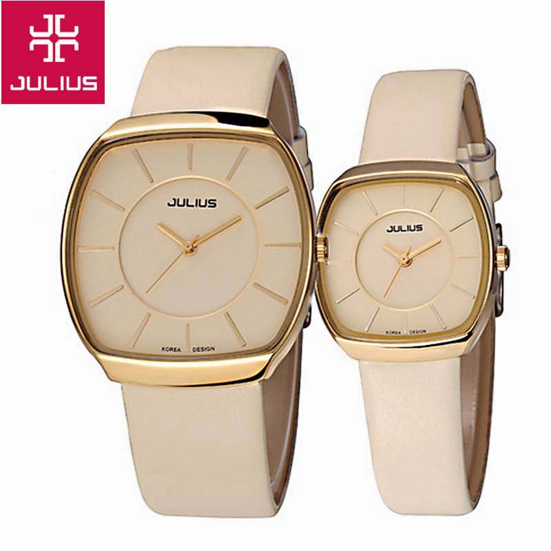 Top Julius Women's Men's Couple Wrist Watch Big Fashion Hours Dress Bracelet Simple Leather School Lovers Birthday Gift