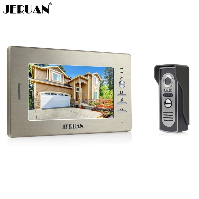 JERUAN Marque Nouveau 7 pouce couleur écran vidéo interphone sperakerphone système d'interphone 1 moniteur + 700TVL COMS caméra LIVRAISON GRATUITE