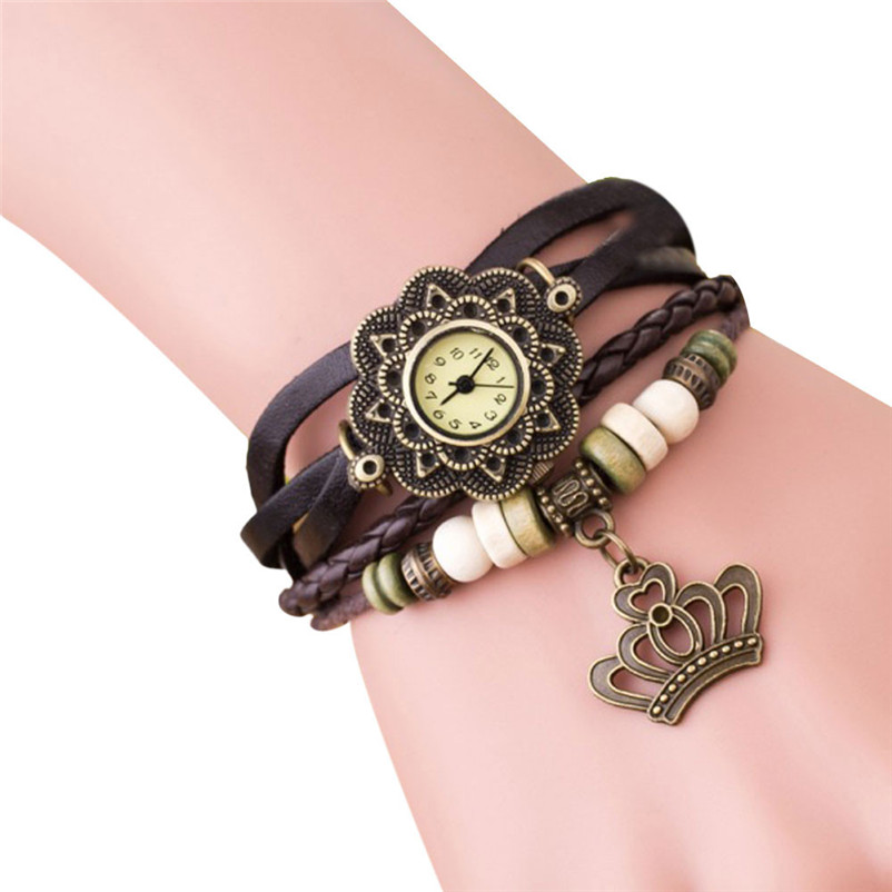 Quartz Weave Around Leather Rose Bracelet Lady Woman Wrist Watch Wrap Around Leather Quartz Wrist Watch Montre Femme Women's Watches