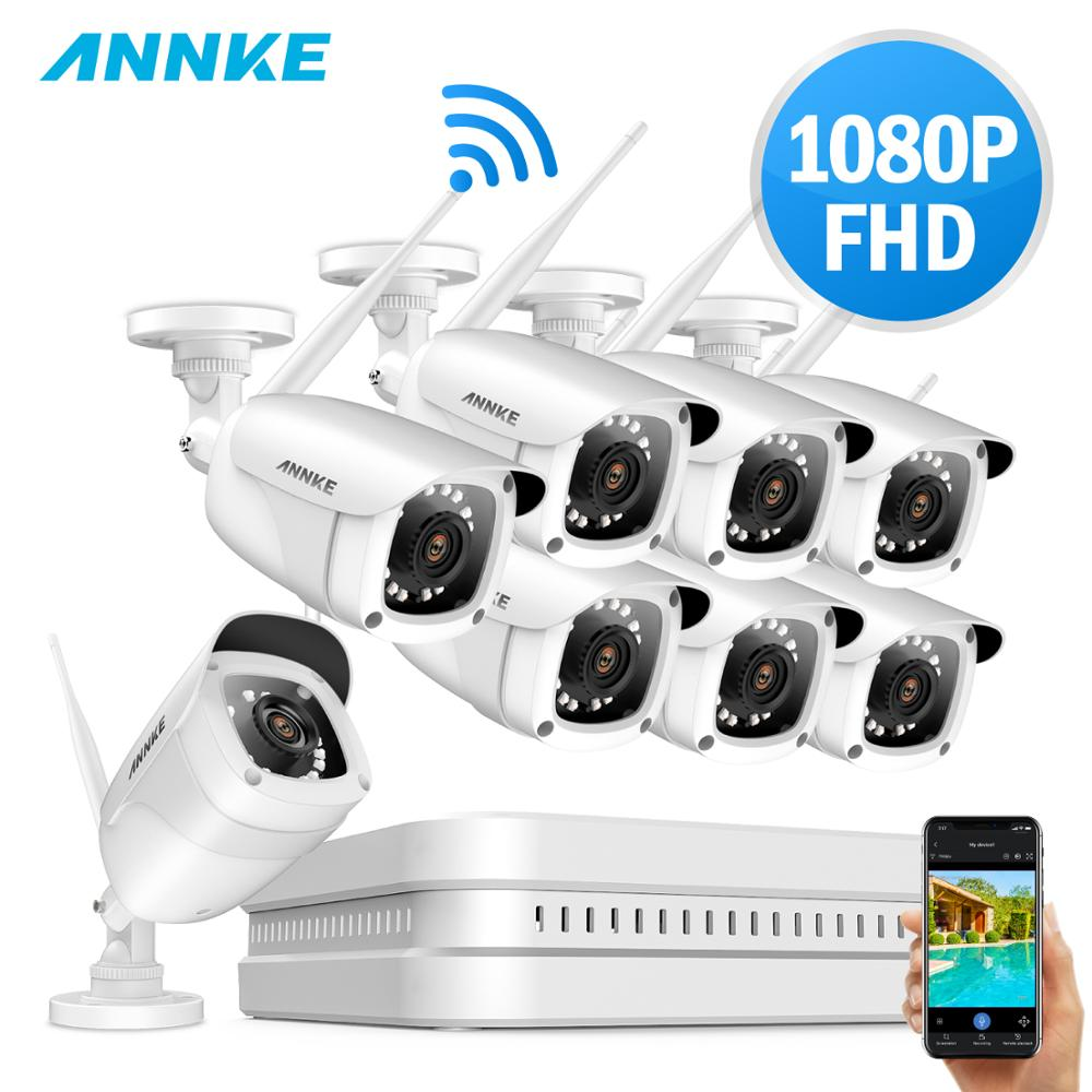 ANNKE 8CH 1080P FHD WiFi NVR Video Surveillance System With 2MP Bullet Weatherproof IP Cameras 100ft
