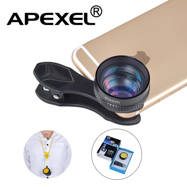 Apexel óptica lente pro, 60mm Teleobjetivo Lente de la cámara, 2X TAN Cerca, sin Distorsión, no darkcircle para iphone samsung todos los teléfonos inteligentes