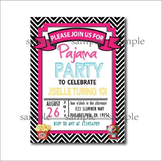online shop 20 pcs lot slumber party invitations black chevron