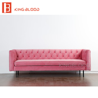 Modern Wedding Pink Velvet Fabric 3 Seat Couch Living Room Sofa Furniture