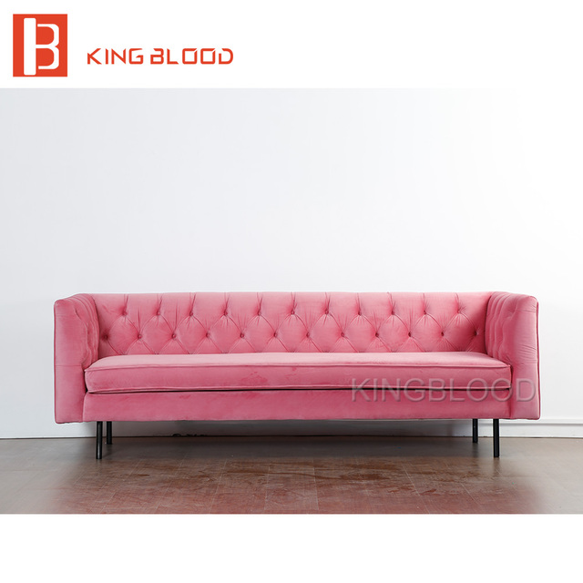 modern wedding pink velvet fabric 3 seat couch living room sofa ...