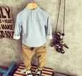 [Bosudhsou] dka-6 Otoño Bebé ropa de Niños Ropa Niños boy Sets de Manga Larga de cuello mandrin Trajes de Pantalones Casuales de La Moda