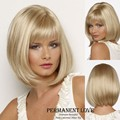 Medium length hairstyle pale blonde hair Wigs with smooth straight full bangs cheap synthetic bob wig for Women cabelo sintetico