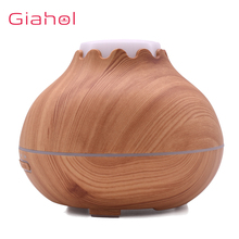 400ml USB Ultrasonic Aroma Diffuser Air Humidifier Aroma Essential Oil Diffuser Fragrant with Wood Grain LED Lights  for Office