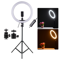 11.8in 24W 2700 5500K 180pcs LED Video Ring Light Fill in Lamp Dimmable + Phone Holder 2pcs Ball Heads for Photography lighting