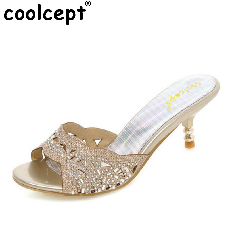 Coolcept summer peep toe sexy fashion women sandals thin heel pumps princess high heels women shoes size 32-45 PB00111 high quality new summer fashion hot women shoes thin high heels sexy party shining ladies peep toe metallic color pumps sandals