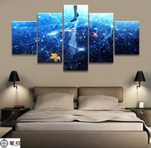 5 Panel Violet Evergarden Animation Poster Modern Wall Art Decorative Modular Framework Picture Canvas Printed One Set Painting(China)