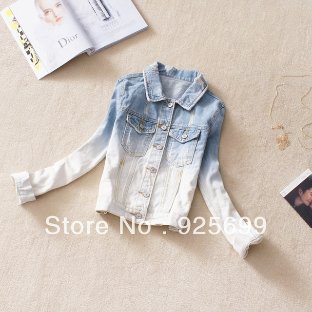 Freeshipping Stylish Women's top Spring Autumn Casual All-match Gradient Color Short Design OutWear Denim Jeans Blazers Coat