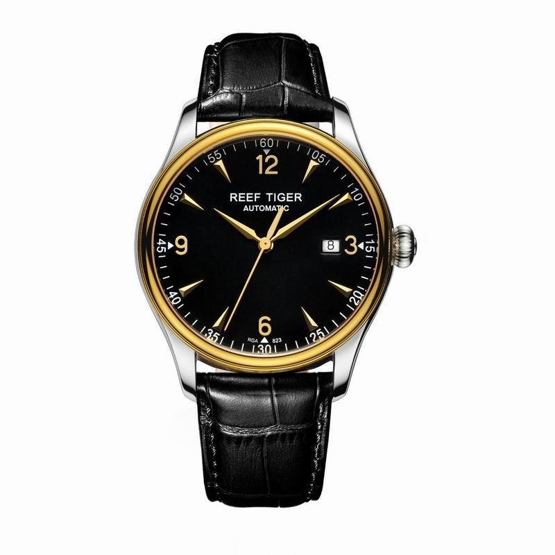 Récif Tiger/RT Top marque de luxe robe montre hommes jaune or véritable bracelet en cuir montre automatique étanche Date RGA823