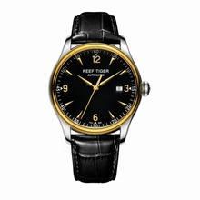 Reef Tiger/RT Top ยี่ห้อ Luxury นาฬิกาผู้ชายสีเหลืองทองสายหนังแท้นาฬิกาอัตโนมัติกันน้ำกันน้ำวันที่ RGA823
