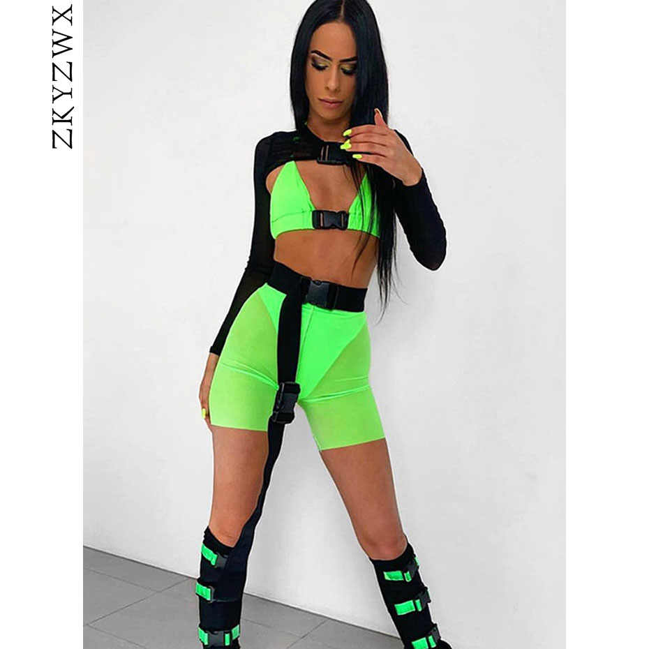 ZKYZWX Neon Green Sexy 2 Piece Set Women Festival Summer Clothes Crop Top Panties Shorts Club Outfits Two Piece Matching Sets