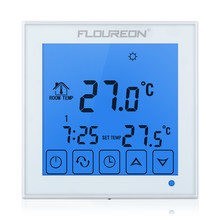 Floureon HY03WE-1 LCD Touch Screen Thermostat Blue Backlight Weekly Programmable Room Temperature Controller White 16A 200~240V(China)