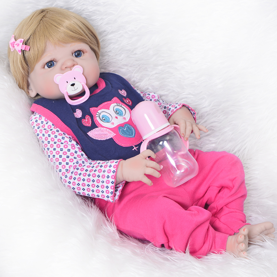 Fashion Reborn Babies Girl Gold Wig 23 Inch Realistic Full Silicone Vinyl Doll Infant Wear Clothes Ethnic Babies Dolls Kids Toys full set top quality 60 cm pvc doll 1 3 girl bjd wig clothes shoes all included night lolita reborn baby doll wedding price shas
