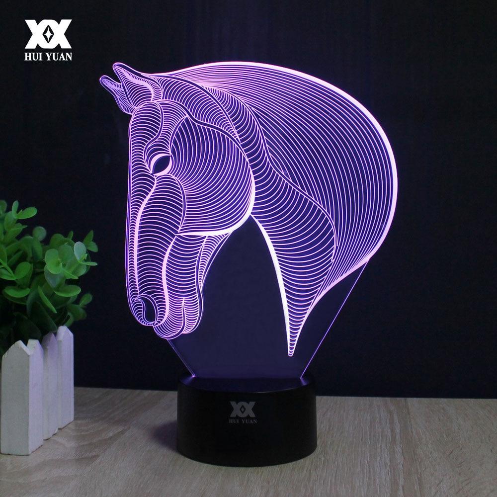 Ձիու գլուխ 3D լամպ USB նորույթ գիշերային լույսով տան զարդարման լույսեր LED գունագեղ փայլուն երեխայի նվեր HUI YUAN ապրանքանիշ