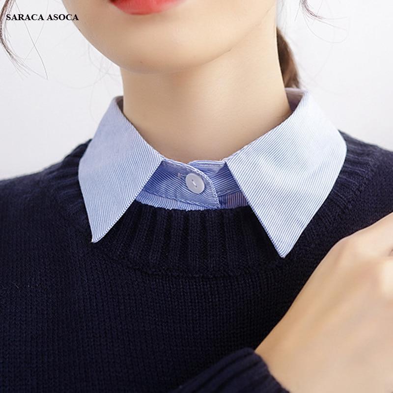 Fashion Blue Shirt Fake Collar Student Girls Adjust Belt Sweater Detachable Collars Women