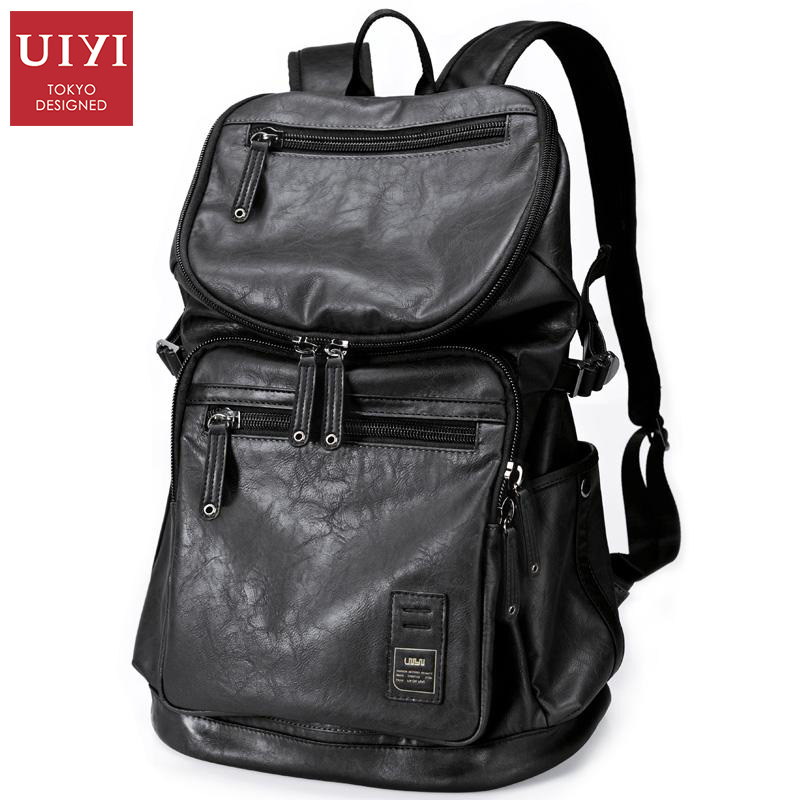 UIYI Men's Backpack Black PU Leather Travel Bag Men 14-inch Laptop Backbag Male Leisure High Capacity #UYB16005 14 15 15 6 inch flax linen laptop notebook backpack bags case school backpack for travel shopping climbing men women