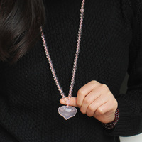 Natural Pink Crystal Heart Pendant Sweater Chain Women Necklace Chain