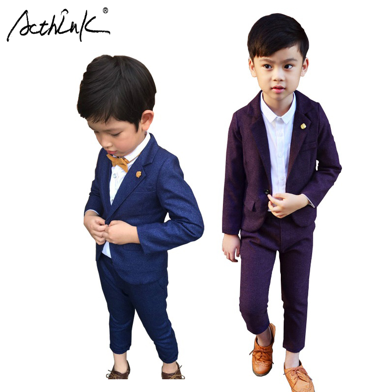 ActhInK 2017 New Arrival Boys 2PCS Pant+Blazer Suit Children Clothing Brand Formal Soft Party Suit with Breastpin for Boys,MC024 Счастье