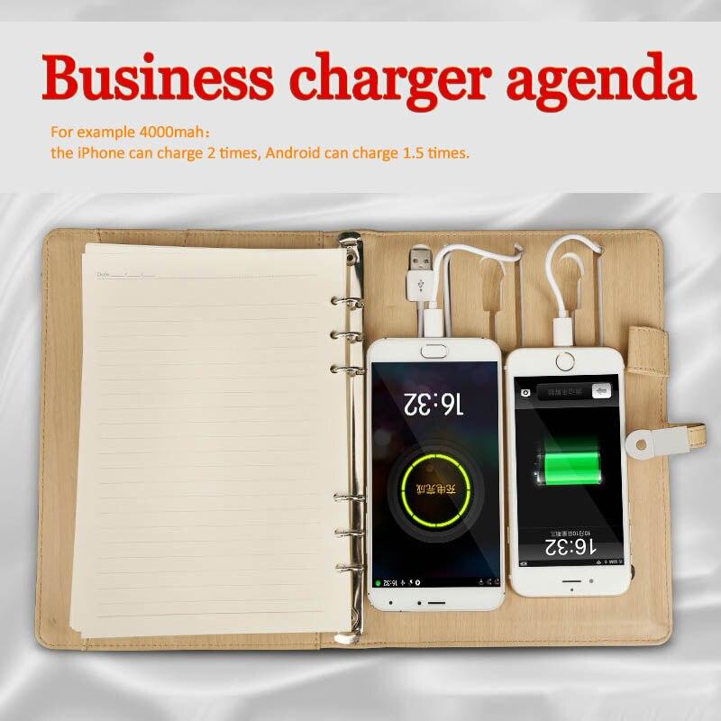 pu leather organizer agenda agendas power bank filofax planner charge agenda a5 filofax a5 notebook u disk organizer stationary