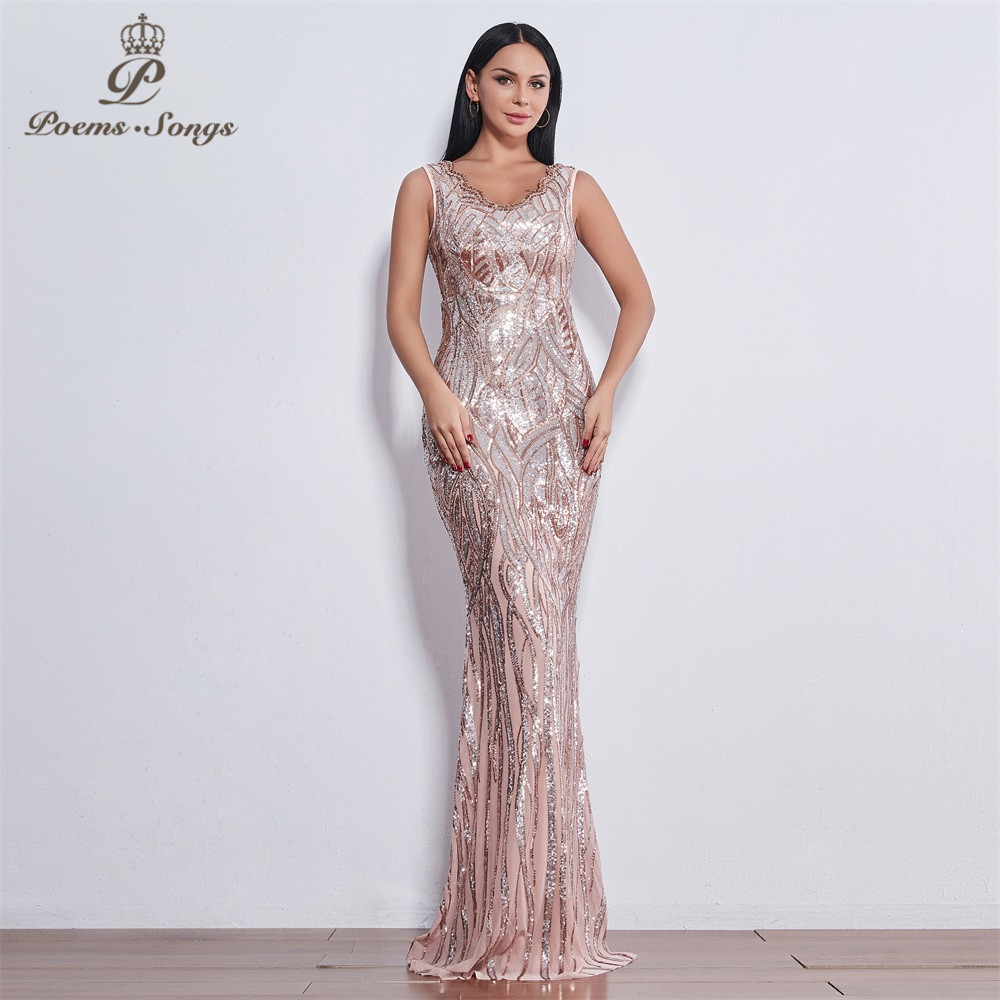 Poems Songs 2019 Sleeveless Evening Dresses Long Vestido De Festa Longo Robe De Soiree Evening Gowns Vestidos Elegante