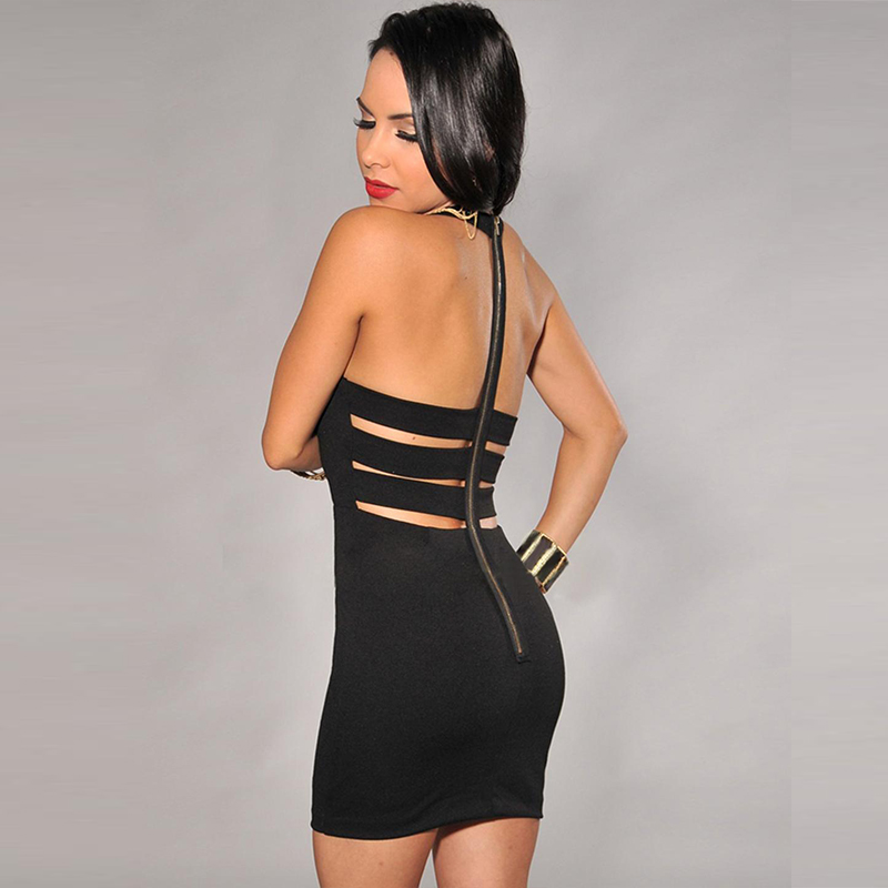 Elegant  Summer Bandage Short Dress Sexy Sleeveless Backless Cut Out Package Hip Bodycon Dress Robe Ukraine W845088B