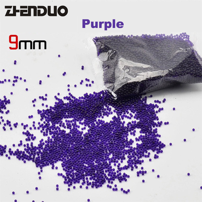 10000 PCS/lot Purple 9mm Soft Water Bomb Crystal Bullet Gel Ball Pistol Gun Toy Accessories For Children Outdoor